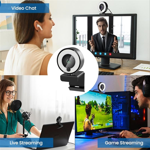 4K Webcam for Streaming with Ring Light