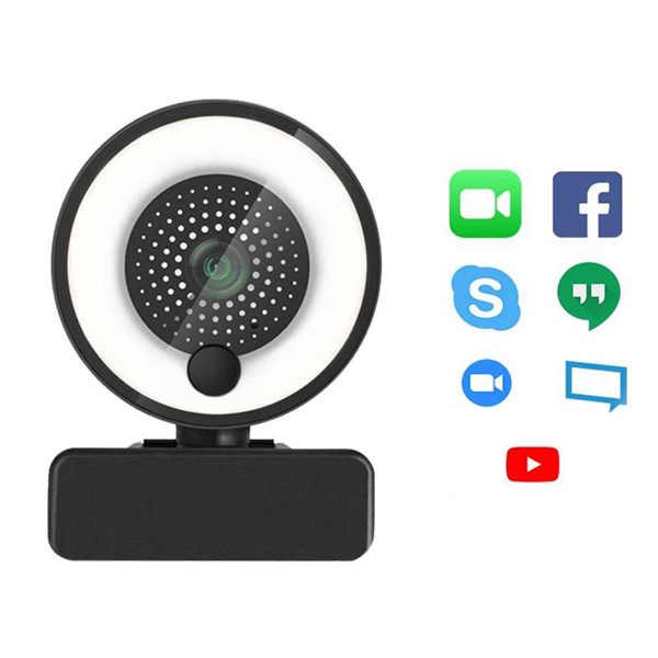4K Webcam with Microphone and Ring Light for Streaming